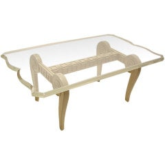Custom Lucite and Wood Coffee Table Designed by Paul Laszlo