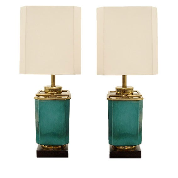Pair of Glazed Ceramic and Brass Lamps by Stiffel