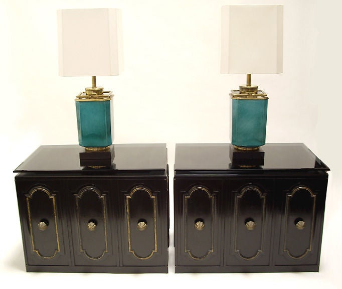 Mid-20th Century Pair of Glazed Ceramic and Brass Lamps by Stiffel