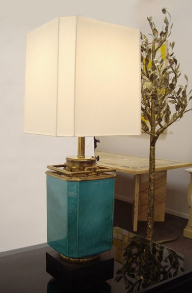 Pair of brass and crackel glazed ceramic table lamps. Top quality design and construction. Made by Stiffel.
