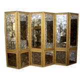 Screen Antique Smoked Mirrored 1940s Custom Six-Panels