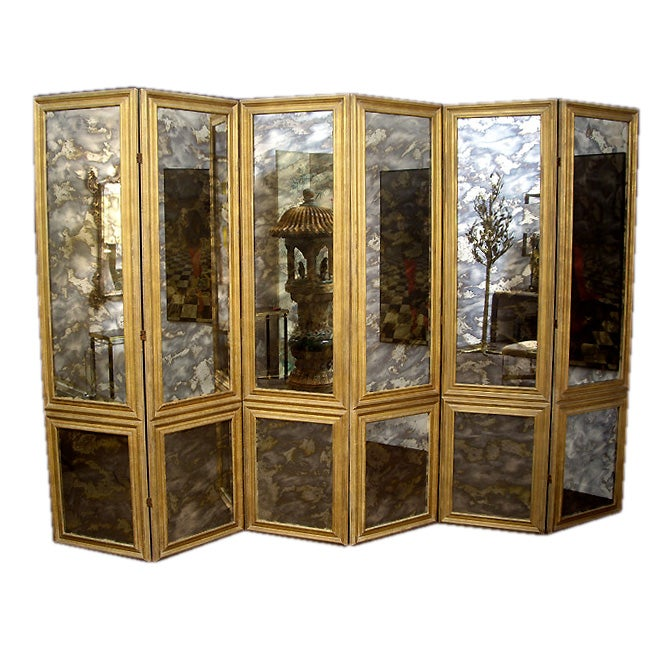 Screen Antique Smoked Mirrored 1940s Custom Six-Panels 1