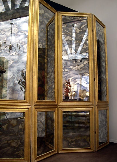 Screen Antique Smoked Mirrored 1940s Custom Six-Panels 2