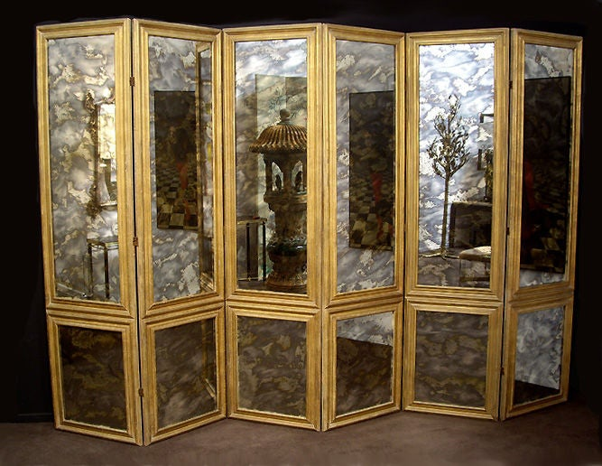 Screen Antique Smoked Mirrored 1940s Custom Six-Panels 5