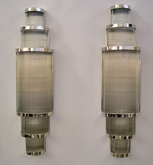 Custom Metal Wall Sconces : Pair of Custom Glass and Metal Wall Sconces at 1stdibs