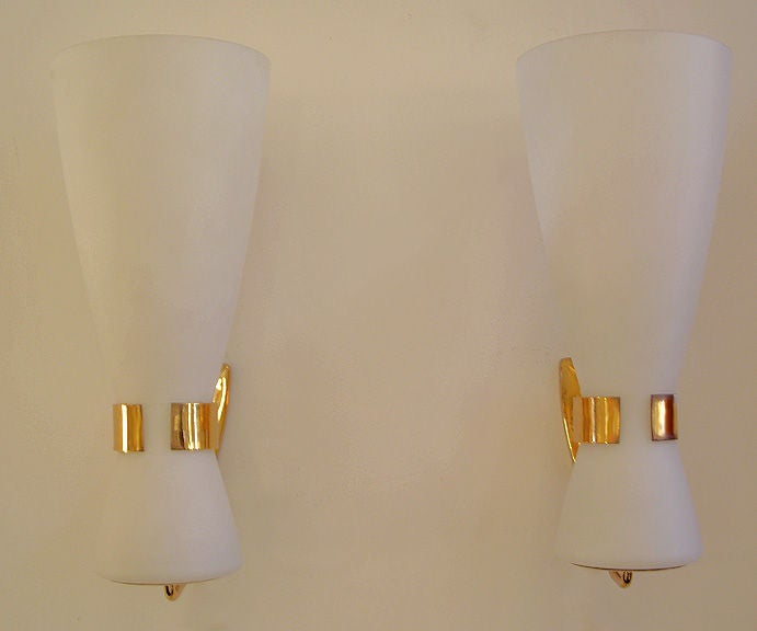 Italian Made Wall Sconces : Pair of Wall Sconces made in Italy by Stilnovo at 1stdibs