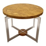 """38"""" Round Burl and Polished Aluminum Table"""