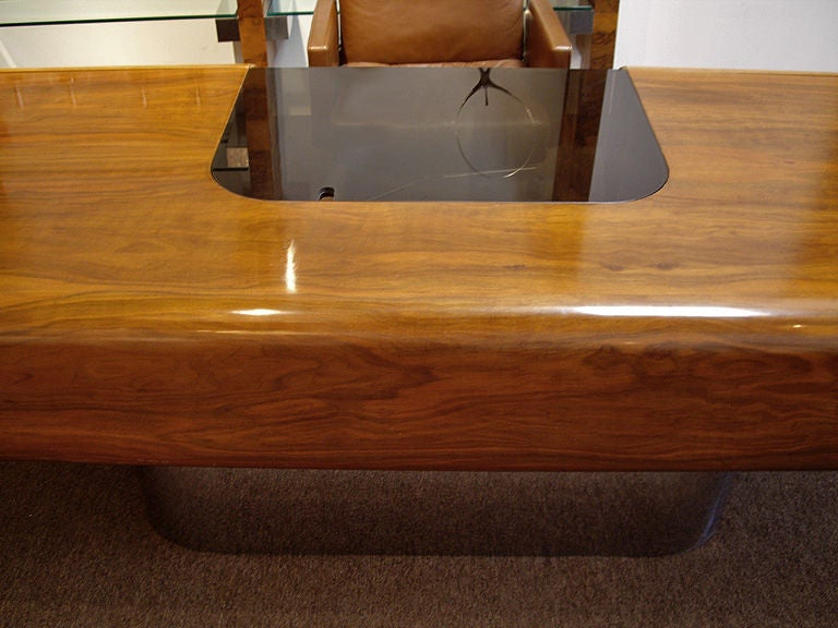 Magnificent 1970s Walnut And Steel Executive Desk At 1stdibs