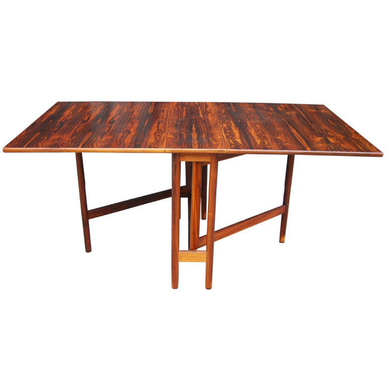 norwegian rosewood drop leaf dining table at 1stdibs