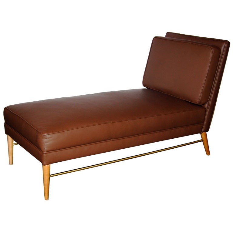 Paul mccobb chaise longue in chocolate brown leather at for Brown chaise longue