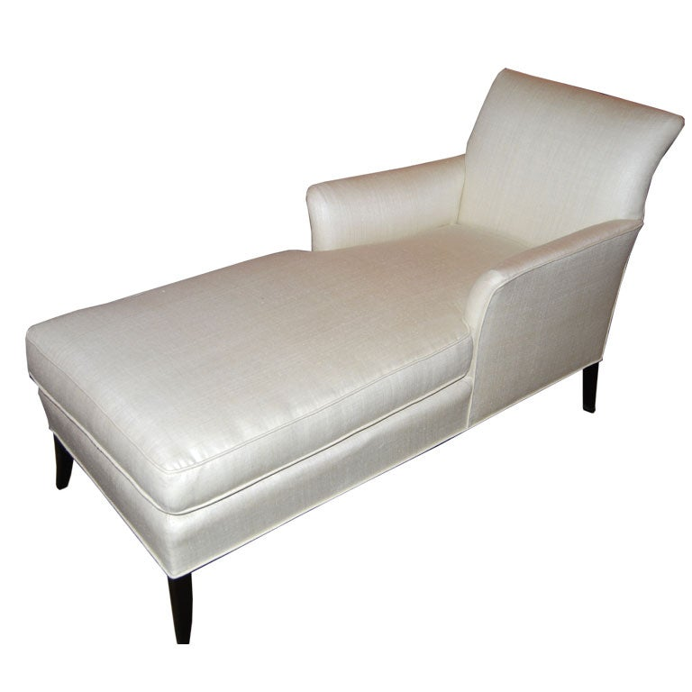 glamorous forties chaise longue in bleached silk at 1stdibs. Black Bedroom Furniture Sets. Home Design Ideas