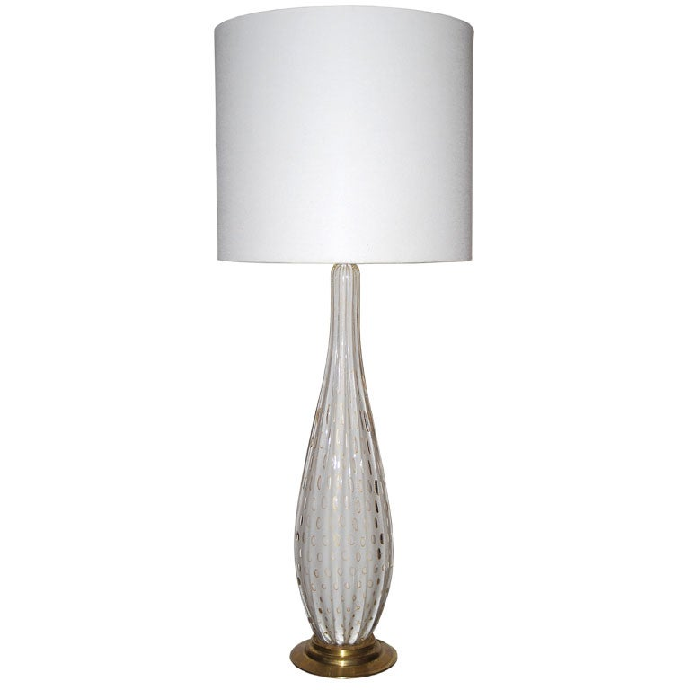 Tall White Seguso Table Lamp At 1stdibs
