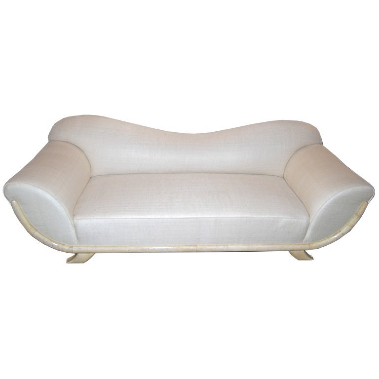 Dominique Sofa In Parchment And Silk At 1stdibs