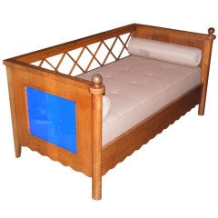 """Jean Royere """"Croisillon"""" Settee with Blue Glass Panels"""