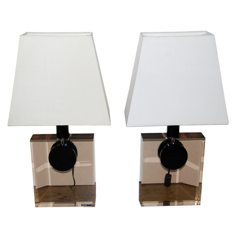 Feliceantonio Botta Lucite Table Lamps For Sale