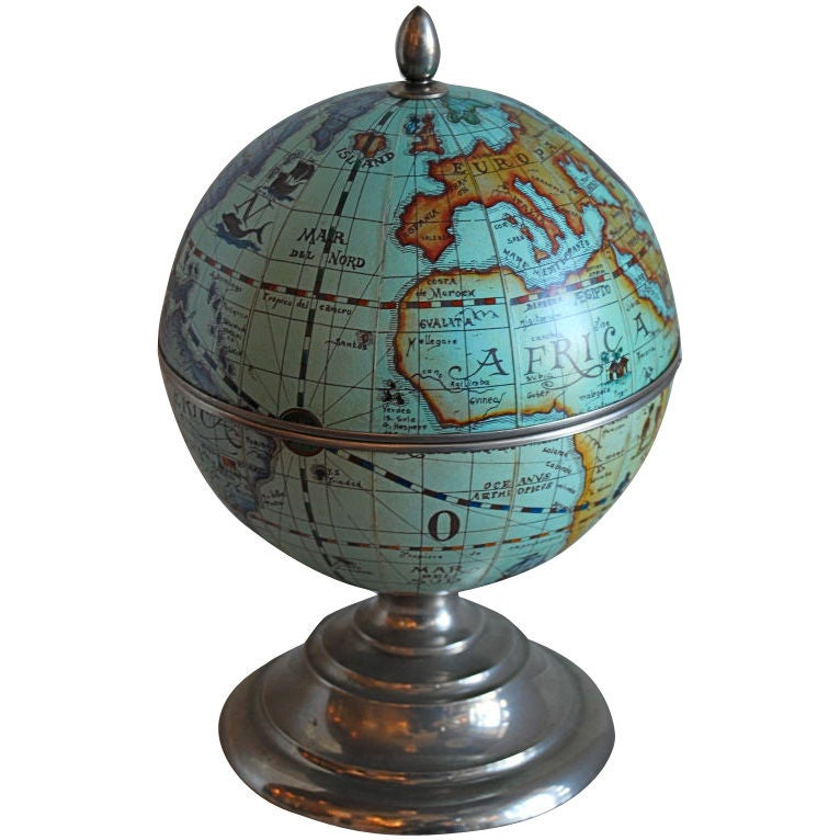 Old World Globe Ice Bucket At 1stdibs