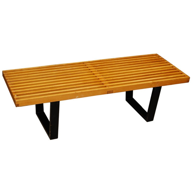 Early George Nelson Petite 4 39 Slat Bench At 1stdibs