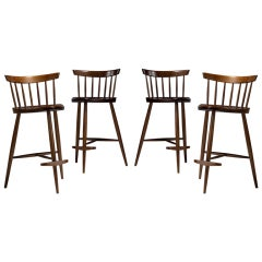 "George Nakashima ""Mira"" Barstools-Set of 4"