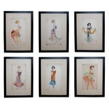 Vibrant Set of Six French Art Deco Water Colors of  Fashion Designs