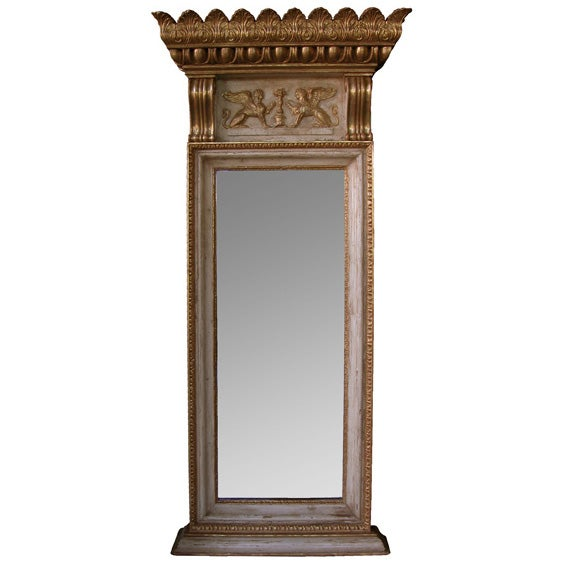 A Regal Swedish Egyptian Revival Ivory Painted & Parcel-Gilt Pier Mirror