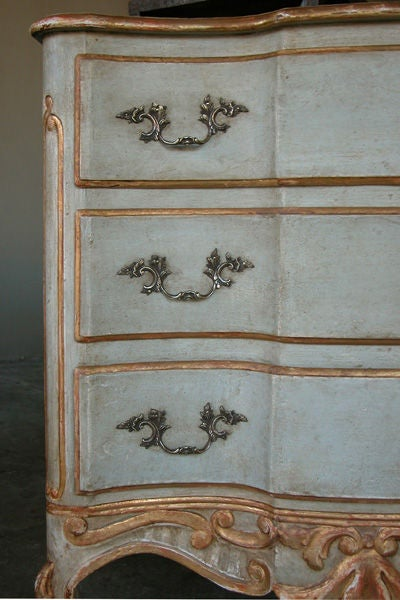 a graceful german rococo style pale aqua painted 3drawer