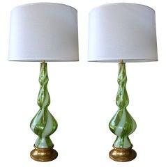 Stylish Pair Italian Apple-GreenTriple-Gourd Glass Lamps; Murano
