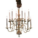 Graceful Dutch Baroque Style 12-Light Giltwood& Brass Chandelier