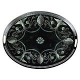 A Finely Painted French Empire Style Black Tole Oval Tray