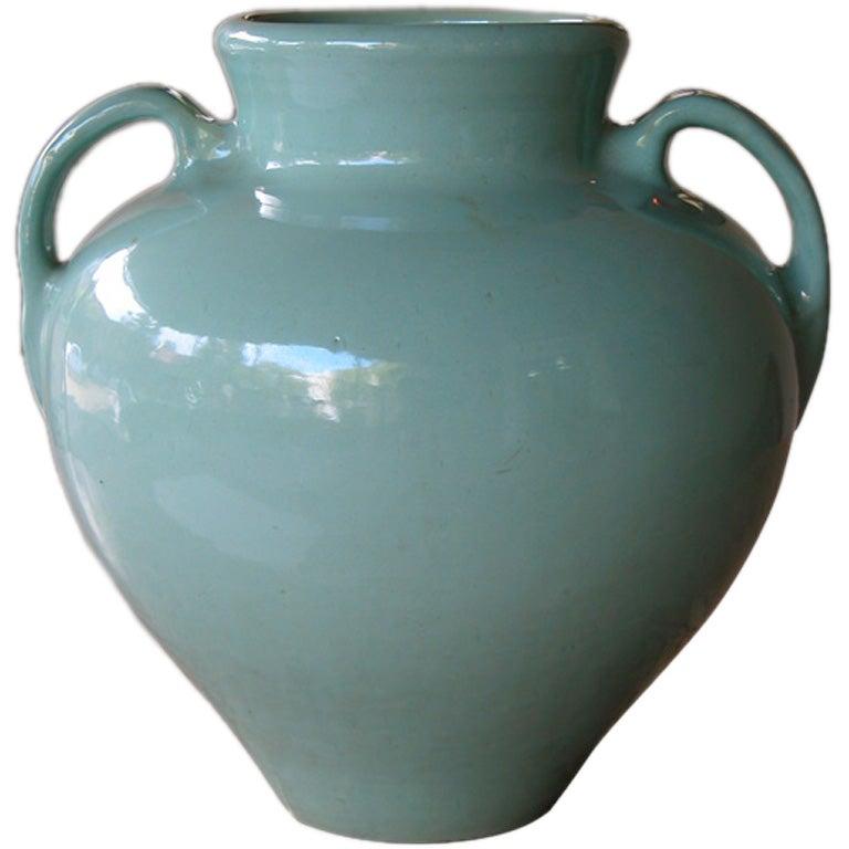 Large-Scaled American Pottery Aqua-Glazed Urn