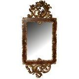 Curvaceous Danish Rococo Style Burl Walnut and Carved Giltwood Mirror