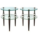 Pair of American 2-Tiered Glass & Mirror Tripod Circular Tables