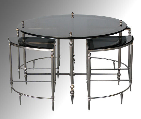 American nickel plated circular cocktail table w nesting