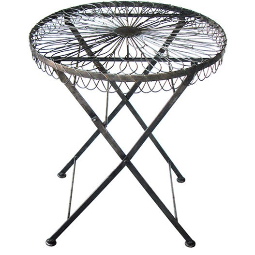 Delightful French 1940u0027s Wire Circular Folding Table W/Iron Base 1