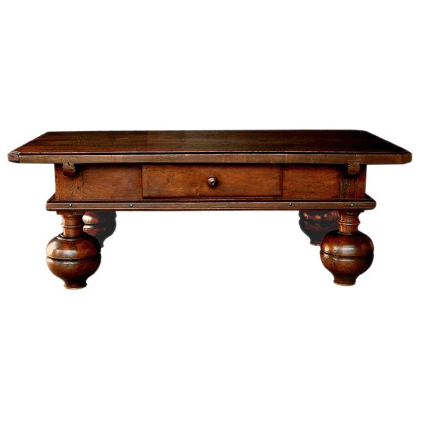 A Danish Baroque Oak Rectangular Single Drawer Coffee Table At 1stdibs