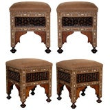 A Handsome Set of Anglo Indian Square Stools with Bone Inlay