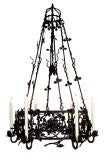 A Boldly-Scaled Belgian Hand-Forged Wrought Iron Chandelier