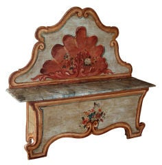 Fanciful Venetian Baroque Style Pine Polychromed High Back Bench