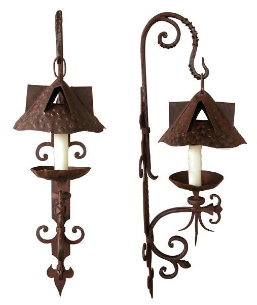 French Iron Wall Sconces : A Pair of French Arts and Crafts Single Arm Iron Wall Sconces at 1stdibs