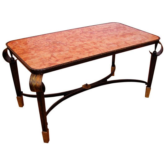 Iron Marble Top Coffee Table: French Hand-Wrought Iron Rectangular Cocktail Table W