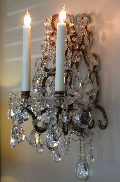 Italian Style Wall Sconces : A Pair of Italian Rococo Style Gilt-Iron and Crystal Wall Sconces at 1stdibs