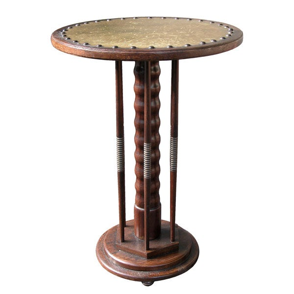 An unusual english arts and crafts oak circular side table for Arts and crafts side table