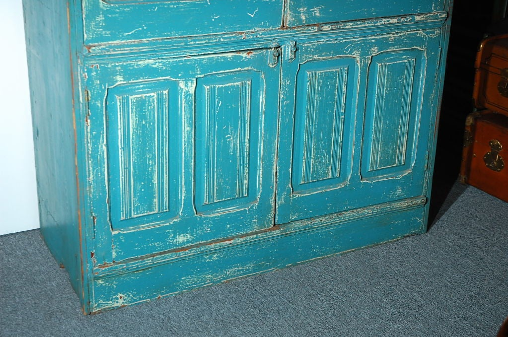RARE 19THC ORIGINAL BLUE PAINTED STEP BACK CUPBOARD For Sale 2