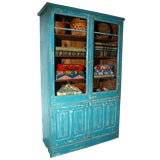 RARE 19THC ORIGINAL BLUE PAINTED STEP BACK CUPBOARD