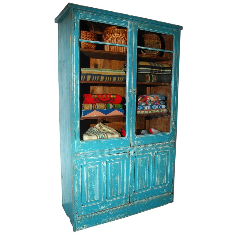 RARE 19THC ORIGINAL BLUE PAINTED STEP BACK CUPBOARD For Sale