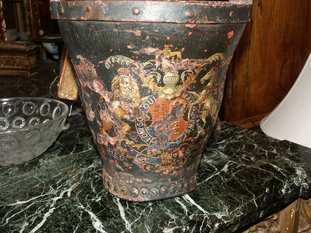 Antique Leather Fire Bucket With Worn Painted Surface At