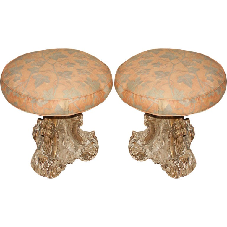 Crusty Pair Of Giltwood And Silver Gilt Stools With