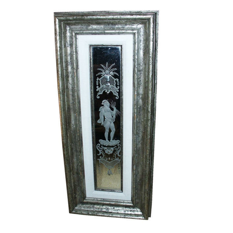 etched venetian glass mirror panel in silvered