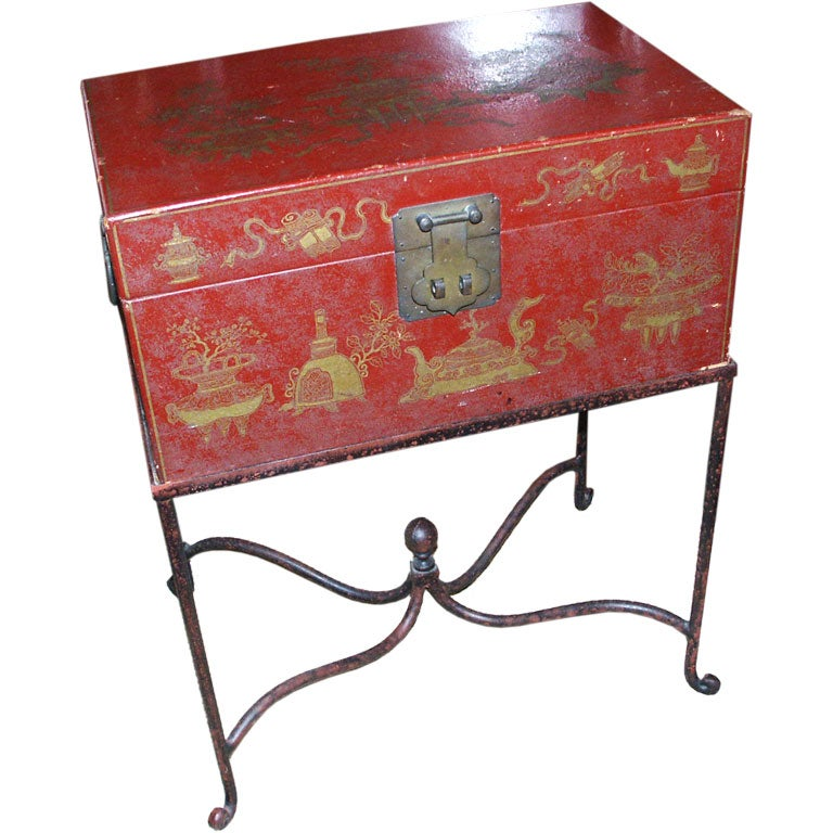 Red Leather Chinese Trunk On Iron Stand At 1stdibs