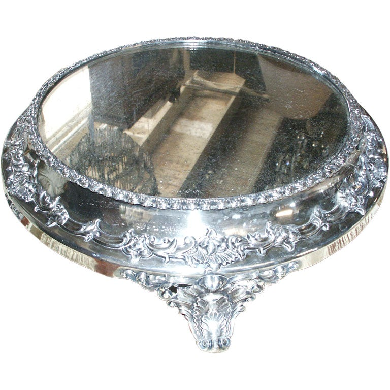 Silver Plated Antique Mirrored Plateau At 1stdibs