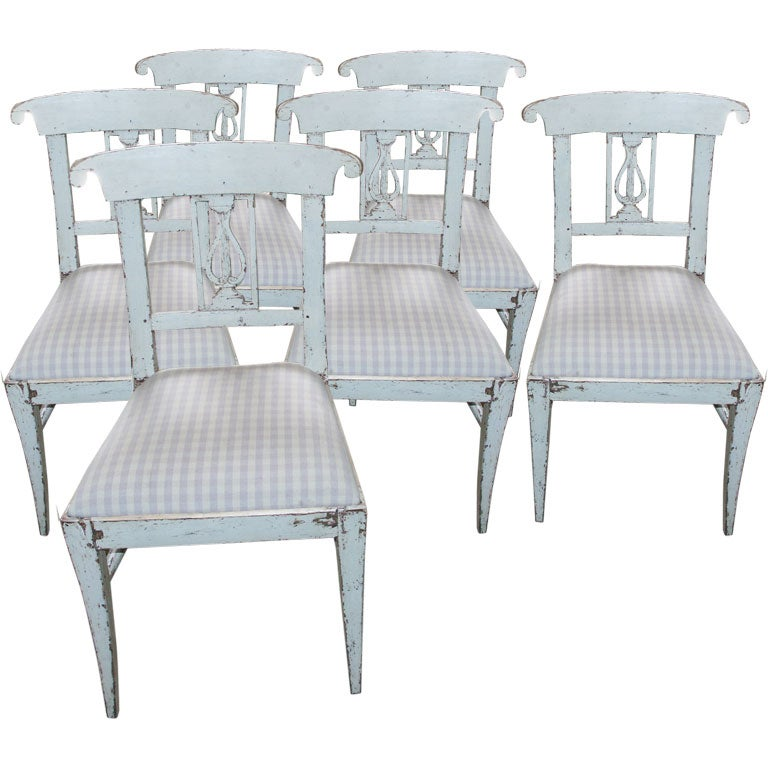 Set of six swedish style dining room chairs at 1stdibs for Swedish style dining chairs